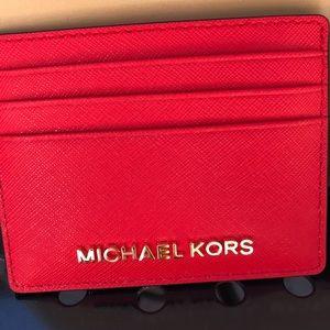"""141209af161c Michael Kors Bags - Michael Kors Red Orange """"Dark Sangria"""" Card Holder"""